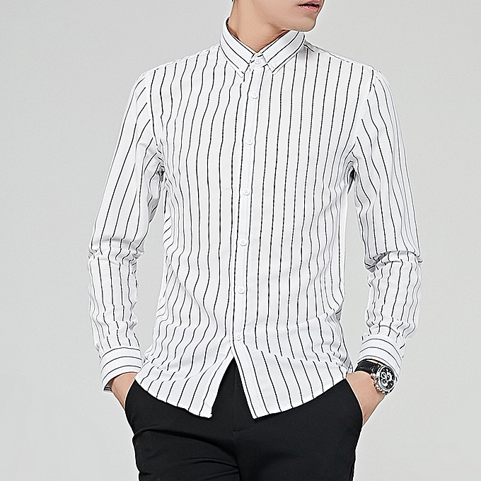 Tauntte Stripe Long Sleeve Shirts For Men Formal Shirts (White ... 269cc2a19ad