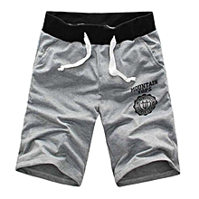 Fashion Casual Men Gym Sport Workout Jogging Cotton Drawstring Shorts Half Pants-Gray.,