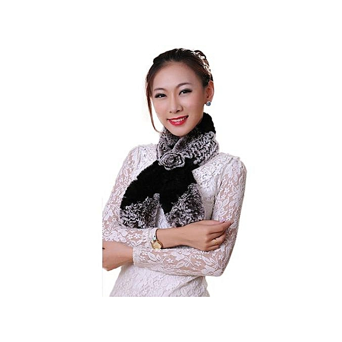 b6e28ddfdde Hiaojbk Store Women Winter Scarf Lady Casual Fur Scarves Fur Ball Velvet  Scarf Black- Black