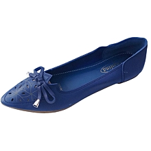 Women PU  Leather Flat Shoes -  Blue