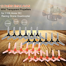 12 Pairs AVAN Mini 3 Inch 3-blade Transparent Propellers CW CCW for 1106 Motor RC Racing Drone