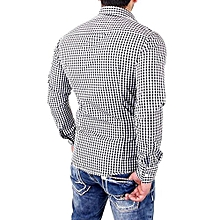 bluerdream-Men's Plaid Shirts Male Long Sleeve Slim Fit Business Casual Shirt BK/L- Black