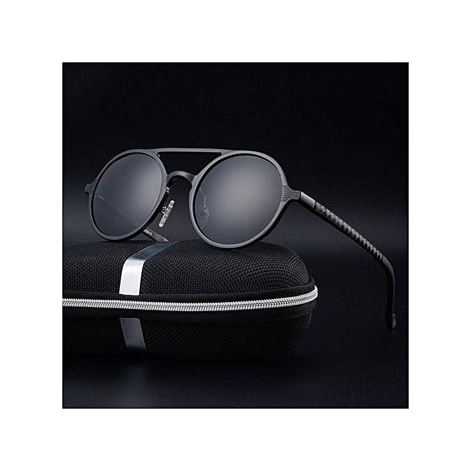 b91d38a7c87 Refined New Men s Polarized Sunglasses Retro Round Frame Fashion Sunglasses-black  - black