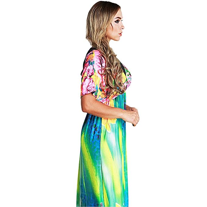 cddfe7c0b0 ... Elegant Women Maxi Dress Floral Print Plunge V Neck Short Sleeve  Russian Long Ice Silk Dress ...