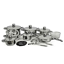 Swiss Cooking Set - 21Pieces - Silver.