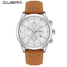 CUENA  Watches Men Luxury Brand Chronograph Men Sports Watches Waterproof Quartz -White , Silver Brown