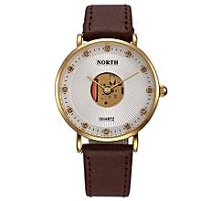 Blicool Wrist Watch Leather Waterproof Hollow Quartz Analog Men's Quartz Watch-gold