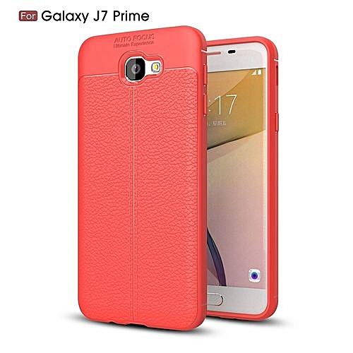 promo code 56fc2 f17ad Samsung Galaxy J7 Prime Silicone Case Litchi Pattern TPU Anti-knock Phone  Back Cover - Red