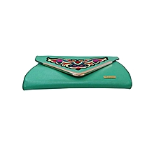 Embroidered Contemporary Clutch - Green