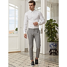 Checked Grey Skinny Male Trousers