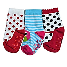 Colourful Girl's Antislip Socks - 3 pair pack