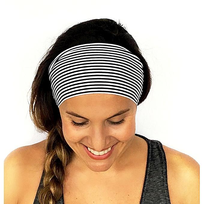 Eissely Ladies Stripe Sports Yoga Sweatband Gym Stretch Headband ... c3af7c15470
