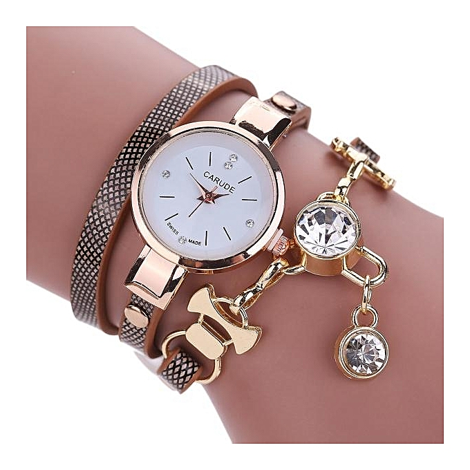 Fashion Women's Ladies Faux Leather Rhinestone Analog Quartz Dress Wrist Watches