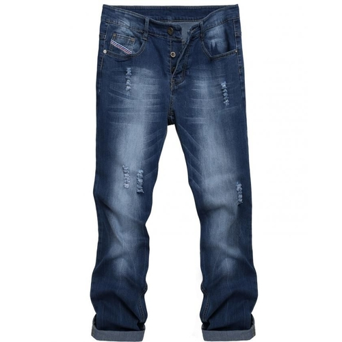 Buy COOFANDY Casual Straight Denim Jeans Frayed Slim Ripped Pants-Blue @ Best Price Online ...