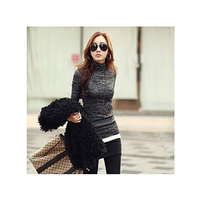 b67eb9c02dd ZANZEA Fashion Woman Lady Casual Basic Turtleneck Cotton T-Shirts Tops Long  Sleeve T-