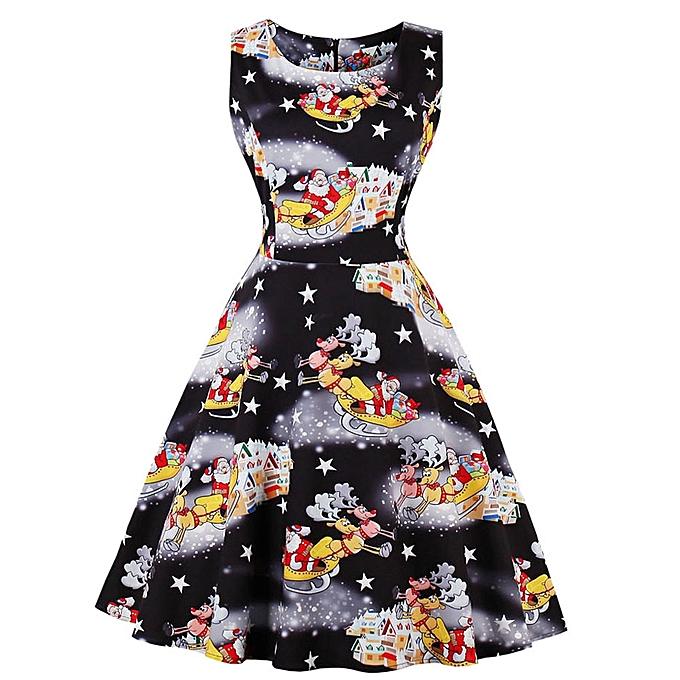 5d7ad607fee Plus Size Womens Santa Christmas Party Dress Vintage Xmas Swing Skater Dress