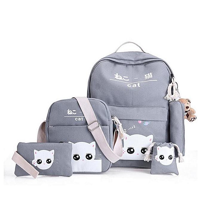 Fashion 5Pcs Women Backpack Girl School Bookbag Shoulder Bag Rucksack  Travel Bag 4 Set Kids Canvas 0e3da083af72c
