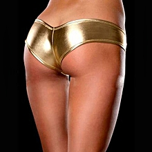 Sexy Lingerie Ladies Night Games Glossy Leather Shorts Underwear Gold