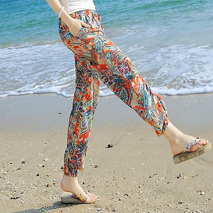 897bd750d8 Fashion Women Beach Pants Bloom Pants Bohemian Printed Beach ...