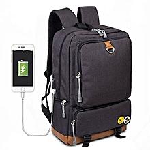 "School Backpack 15"" Laptop Bookbag Student Rucksack With USB Charging Port - Black"