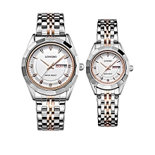 [2 Pack] 80164 Couple Watch Fashion Brand Full Stainless Steel Analog Display Date Men Women Quartz Watch Business Wristwatch - Silver