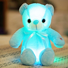 Creative Light Up LED Teddy Bear Stuffed Animals Plush Toy Colorful Glowing Teddy Bear Christmas Gift-30cm blue