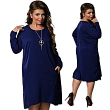 Refined Women Lady Fashion Long-sleeved Dress New Item Solid Color Large Size Dress - Black