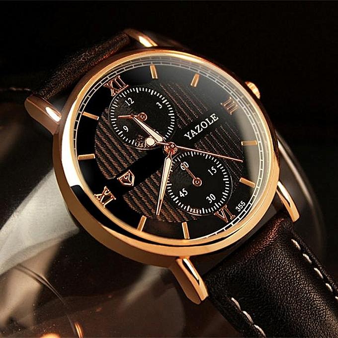 41a753274fb ... Yazole Africashop Watch Luxury Fashion Leather Mens Glass Quartz Analog  Wristwatch Noctilucent Watches-Black ...