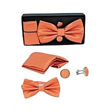 Men's Bow Tie, Cufflinks & Pocket Square Set - Orange
