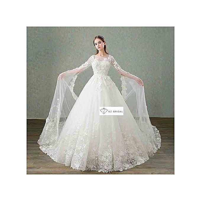 Buy Generic Luxury Long Sleeves Applique Decorated Queen Wedding ...
