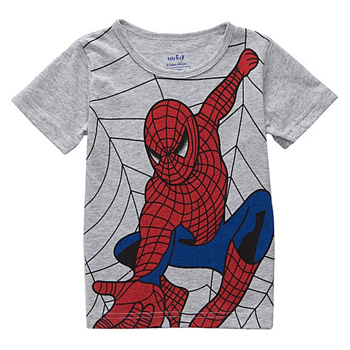 5308af95 Kids Children Boys T-Shirts Soft Breathable Pure Cotton Tee Cartoon Spider  Man Casual Tops