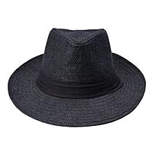 Men's Women Unisex Fedoras Cowboy Summer Beach Sun Caps Jazz Trilby Straw Hats Black