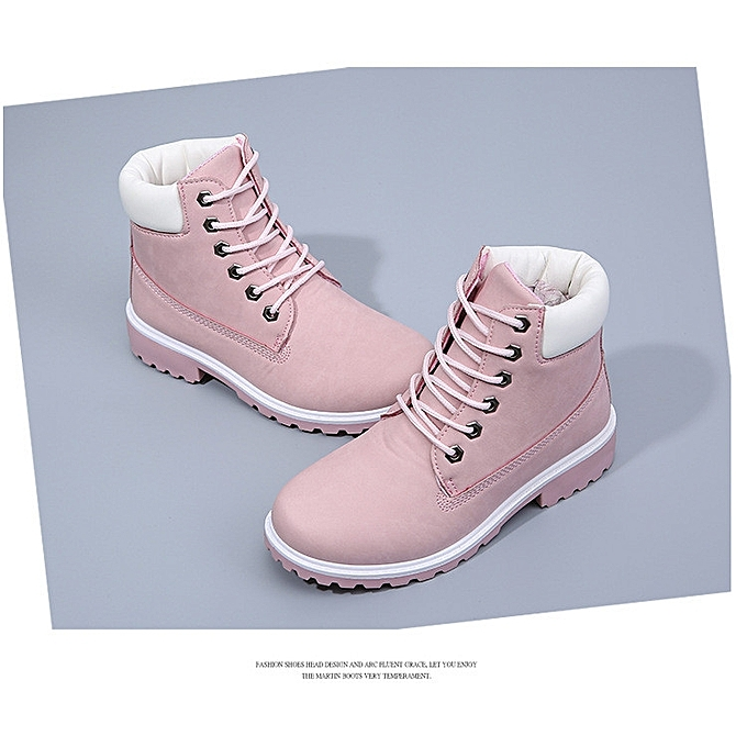 Women s Leather Ankle Martin Boots High Top Waterproof Safety Work Shoes  Flat 3f0f8e0016