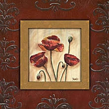 Canvas Print Poppy Wall Picture 40X40cm Rolled -  Damask Poppies 2 Painting