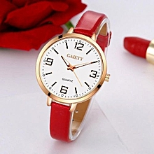 GAIETY Women's Fashion Faux Leather Strap Arabic Numerals Analog Quartz Wrist Watch (Red + Rose Gold)