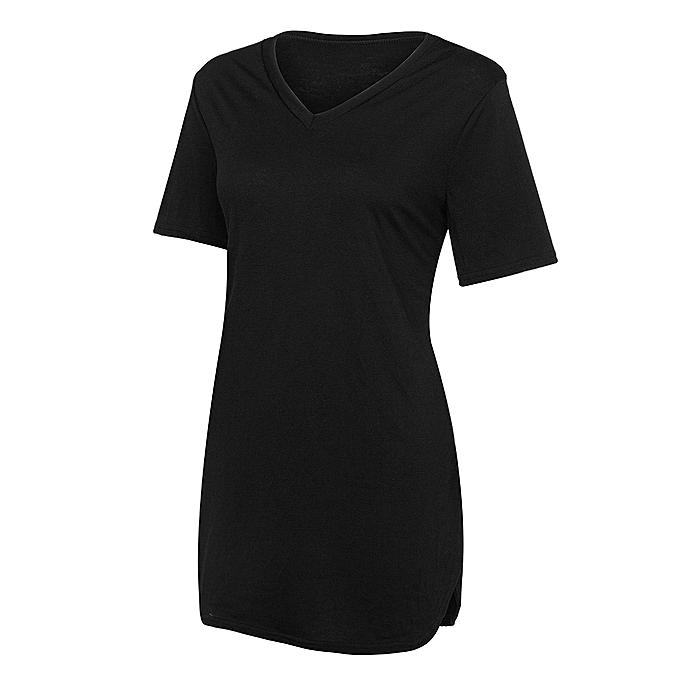 91d369c88b2 ... huskspo Womens Short Sleeve Solid Color Side Split Shirt Pullover Tunic  Blouse Tops ...