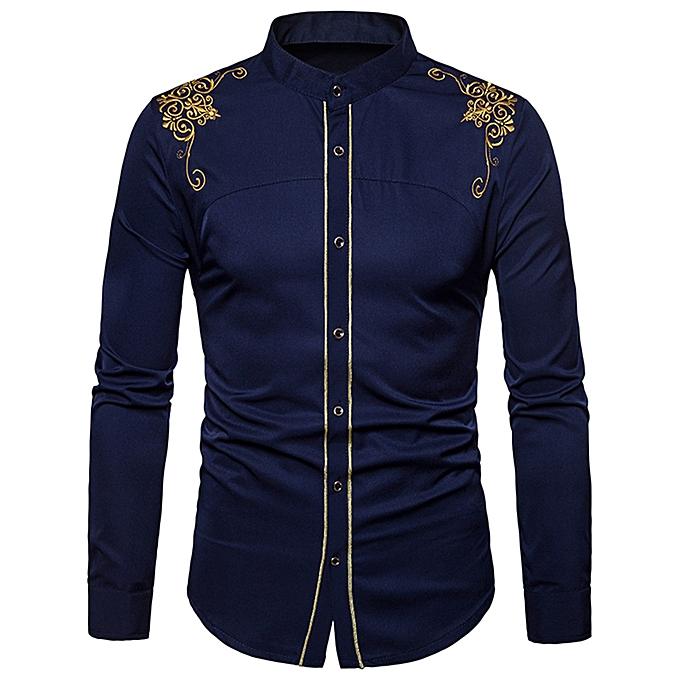 Turndown Collar Embroidered Design Shirt - MIDNIGHT BLUE
