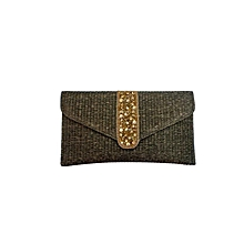 Cane Finish Clutch with Eclectic Strip - Brown