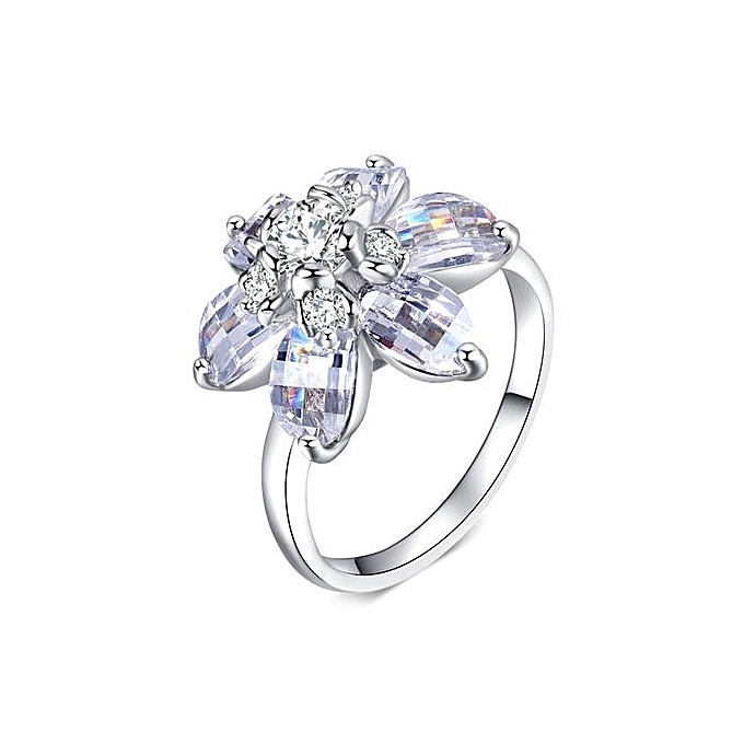 Buy Fashion New Creative Heart Of A Large Petals Zircon Ring Stylish