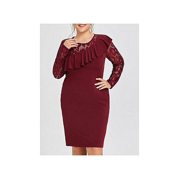 Fashion Plus Size Lace Insert Ruffle Semi Formal Dress @ Best Price ...