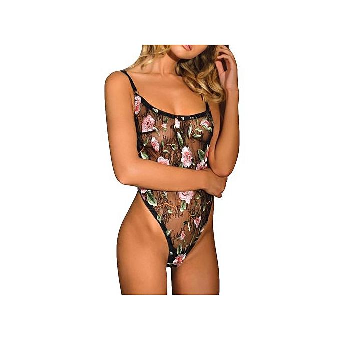 820d241b761ed Xingbiaocao Womens Mesh Embroidered Sexy Swimsuit Cover Up Jumpsuit Bikini  Swimwear -Black