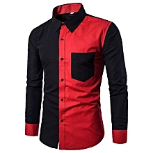 Mens Fashion Casual Slim Fit Stylish Shirts Long Sleeve Shirt Blouse BK/2XL-black