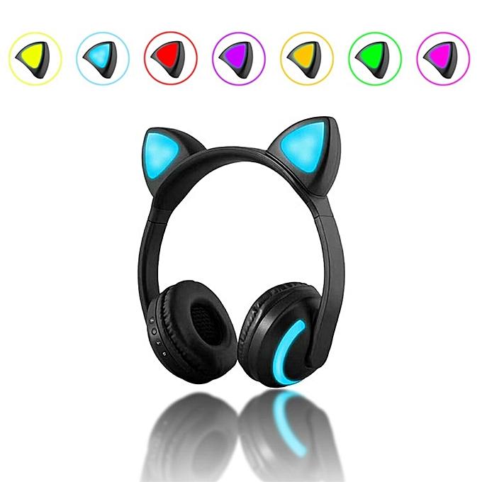 137a37901a1 ... Newly Kids Wireless Cat Ear Headphones Glow Earphone Mic Game Bluetooth  Headset Christmas Gifts(Cat ...