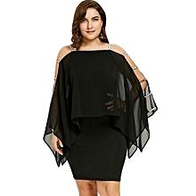 Plus Size Ladder Cut Capelet Dress-BLACK