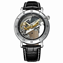 Luxury Skeleton Automatic Mechanical Men Watch Self-Wind Stainless Steel/ Leather Man Business Wristwatch Masculino Relogio + Box