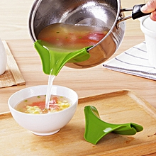 New Liquid Silicone Funnel Soup Pot And Pans Rim Deflector Anti Leakage Cooking Tools Kitchen Accessories Funnel Kitchen - Green