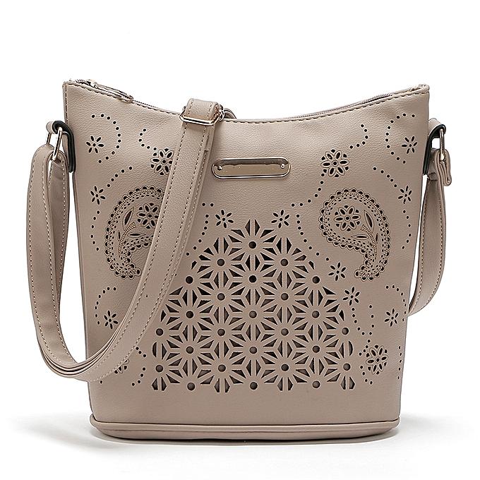 Womens Leather Purse Satchel Cross Body Hollow Out Shoulder Bag Messenger  Bag -Khaki 23 25 12cm 34b0142225fd1