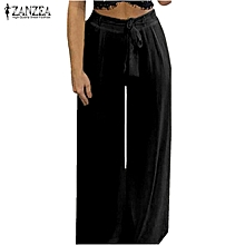 2018 Hot Women Summer Casual Ladies Ol High Waist Striped Lace Up Wide Leg Drawstring Long Pants Trousers Women's Clothing