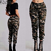 ZANZEA Pantalon Femme Military Camouflage Pants Women Printed Elastic Waist Spring Summer Trousers Long Drawstring Pants