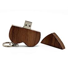 Romantic Heart Shape Walnut Wood USB 2.0 Flash Drives Memory Stick U Disk wood color